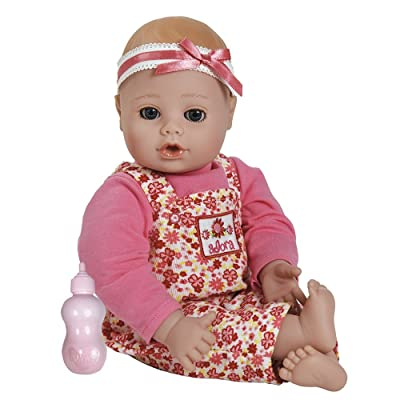 Adora Playtime Baby Flower Pink 13 inch Baby Doll with Floral Overalls, Bow Headband and Bottle: Toys & Games