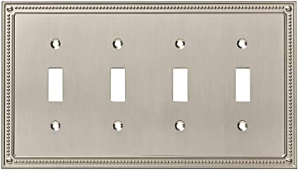 Satin Nickel Liberty Hardware Manufacturing Corporation Franklin Brass W35068-SN-C Classic Beaded Quad Switch Wall Plate//Switch Plate//Cover