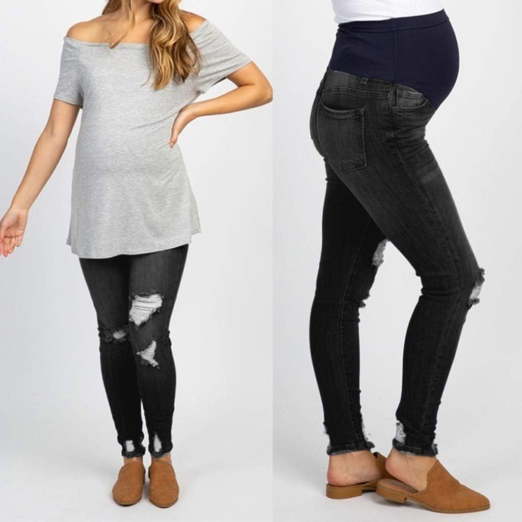 Ucoolcc Umstands-Jeans Jeggings Denim Schwarz//Umstandshose//Schwangerschaftshose//Damen Umstandsmode//Jeans f/ür werdende Mamas