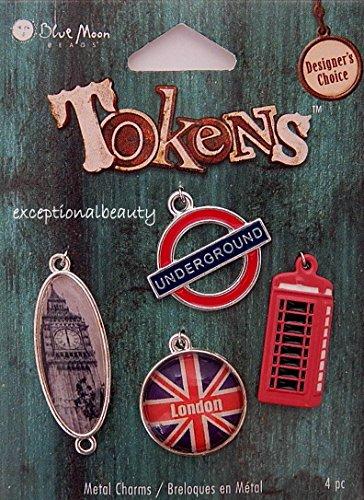 Charm Set London Themed Big Ben Underground Altered Art Blue Moon Charms Link