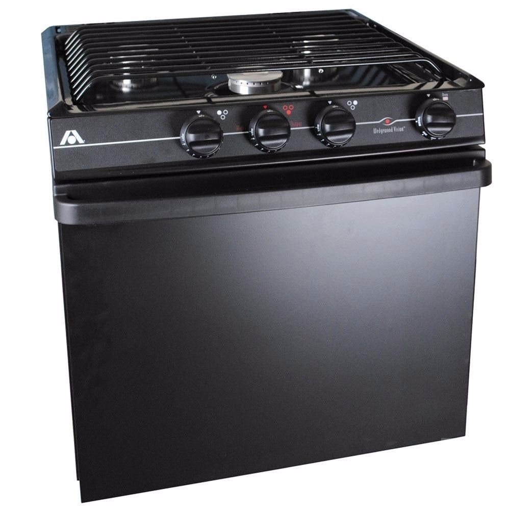 "Atwood 52273 21"" Wedgewood Vision Range Oven Black Top Black Painted Door Match Light"