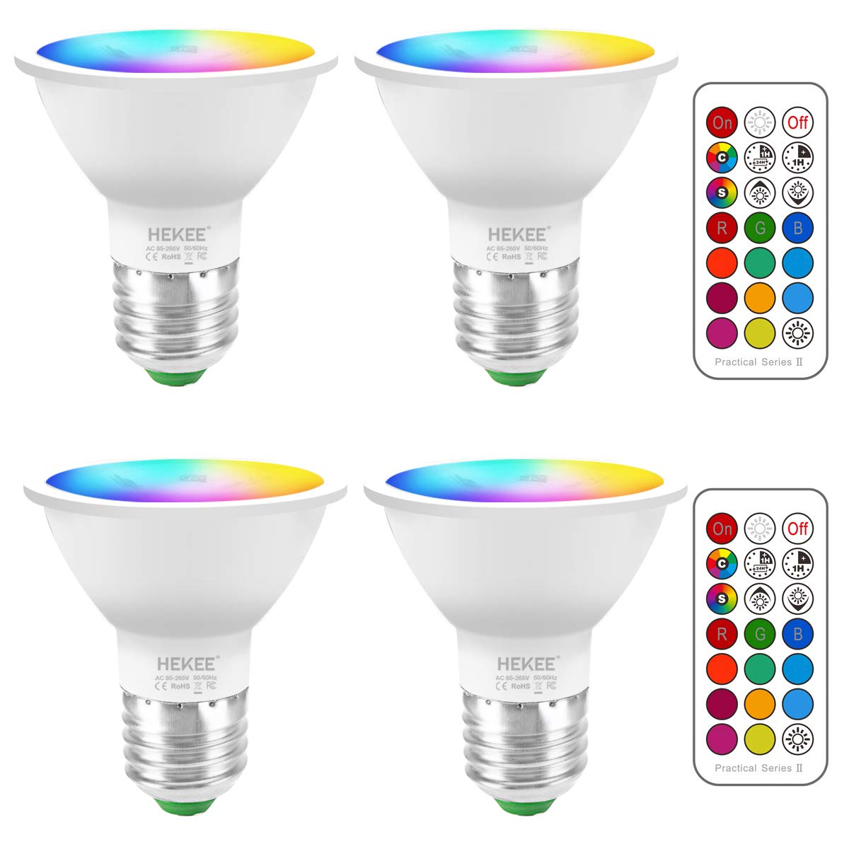LED Light Bulbs Color Changing 5W E26 Screw 45°, 12 Colors Dimmable Warm White 2700K RGB LED Spot Light Bulb with Remote Control, 20 Watt Equivalent (Pack of 4)
