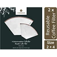 VIENESSO Reusable Coffee Filters – 2 Stainless-Steel Mesh Filters Bundle – Sustainable Paperless Cone Filters for Coffee…