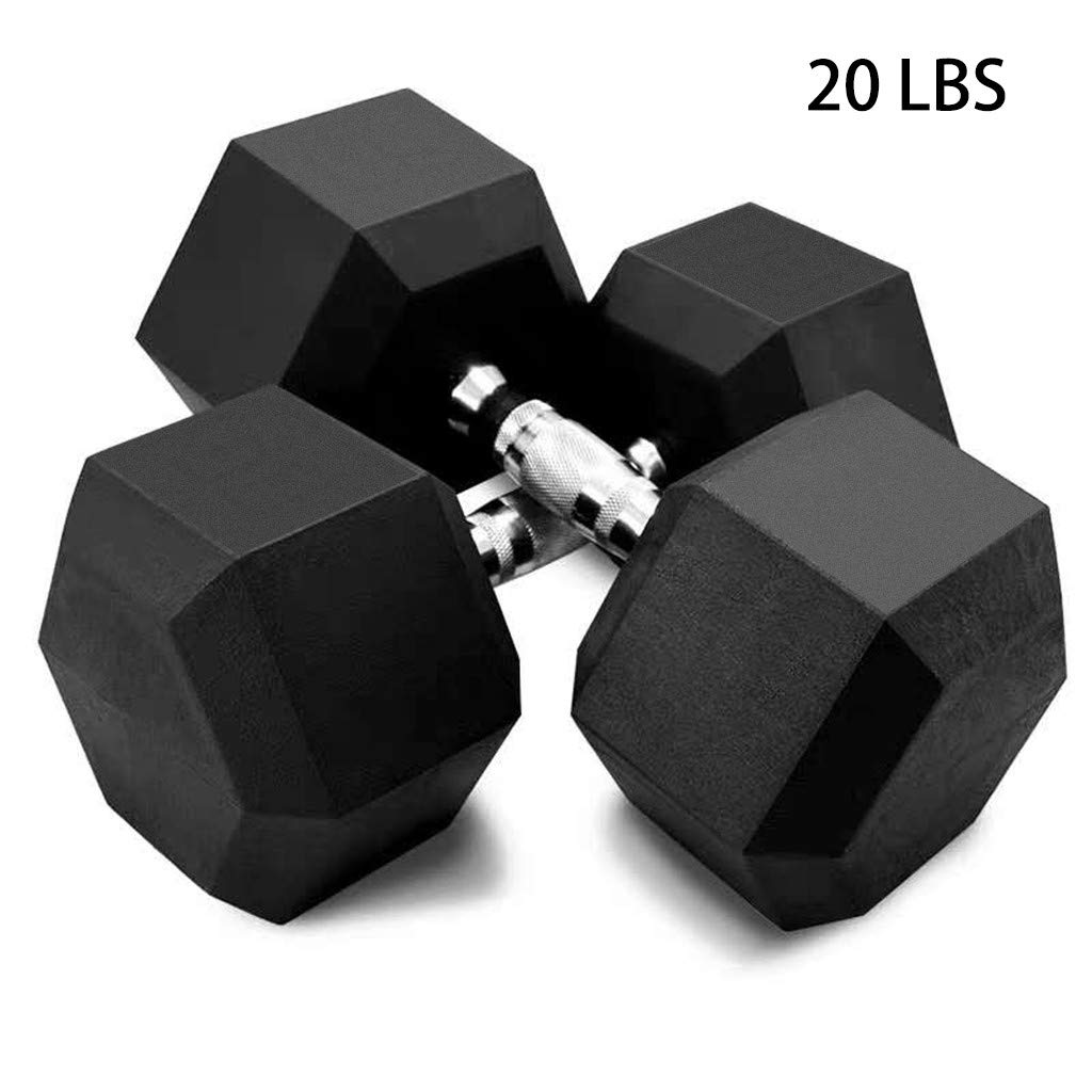 5-50lbs Dumbbells - Hex Rubber Dumbbell With Metal Handles - Shaped Heads to Prevent Rolling and Injury - Ergonomic Hand Weights for Exercise, Therapy, Building Muscle (Set Of 2 (20lbs), Black) by Dacawin