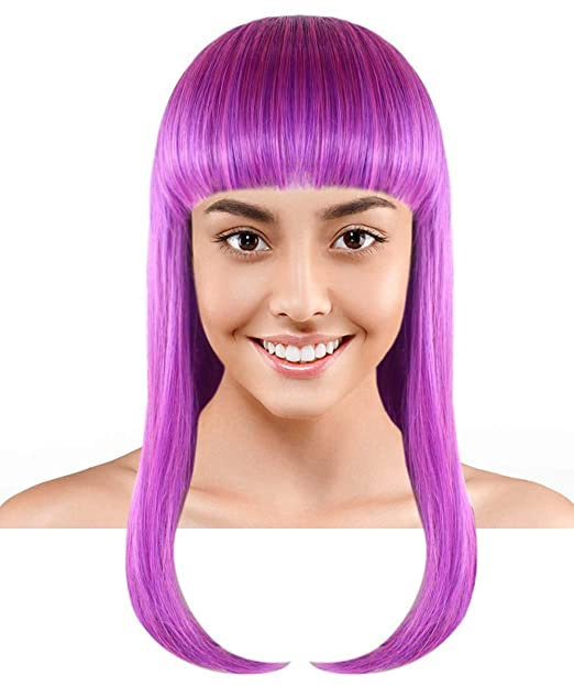 Amazon.com Halloween Party Online Long Bob Wig, Purple
