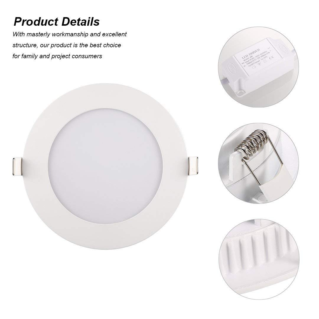 Ceiling Lights, TryLight 12 Watts 6 Inch Dimmable Round LED Recessed Lighting Ultra-Thin for Home Office Commercial Lighting, 4000K Cool White by TryLight (Image #5)