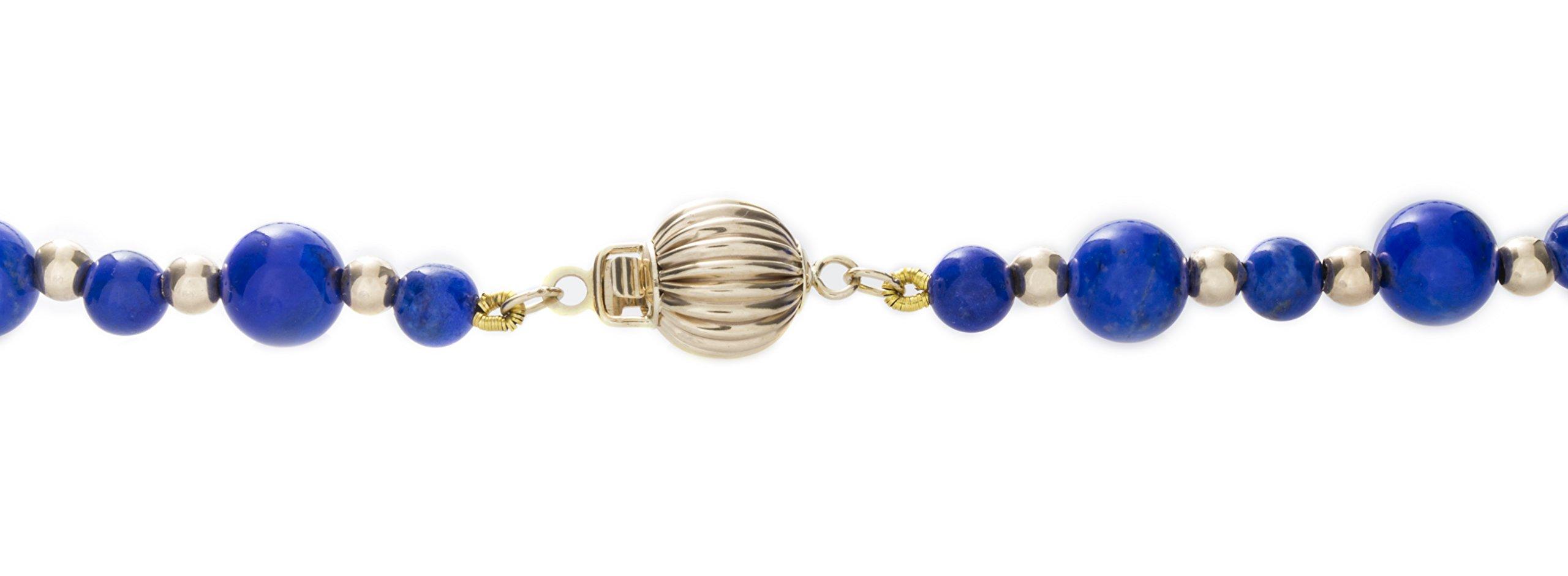 ISAAC WESTMAN 14K Yellow Gold Graduated Lapis Lazuli Gemstone Beaded Necklace | 20'' Matinee Length by ISAAC WESTMAN (Image #4)