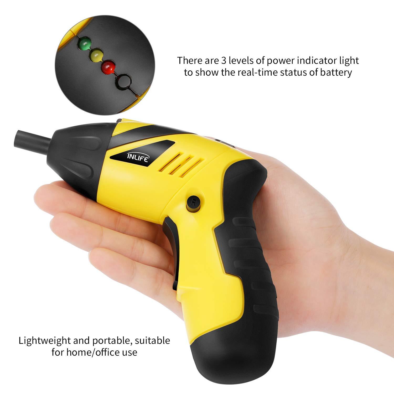 Destornillador Eléctrico Inalámbrico InLife Taladro Atornillador Portátil con 46 Accesorios LED Luz y Una Caja de ABS