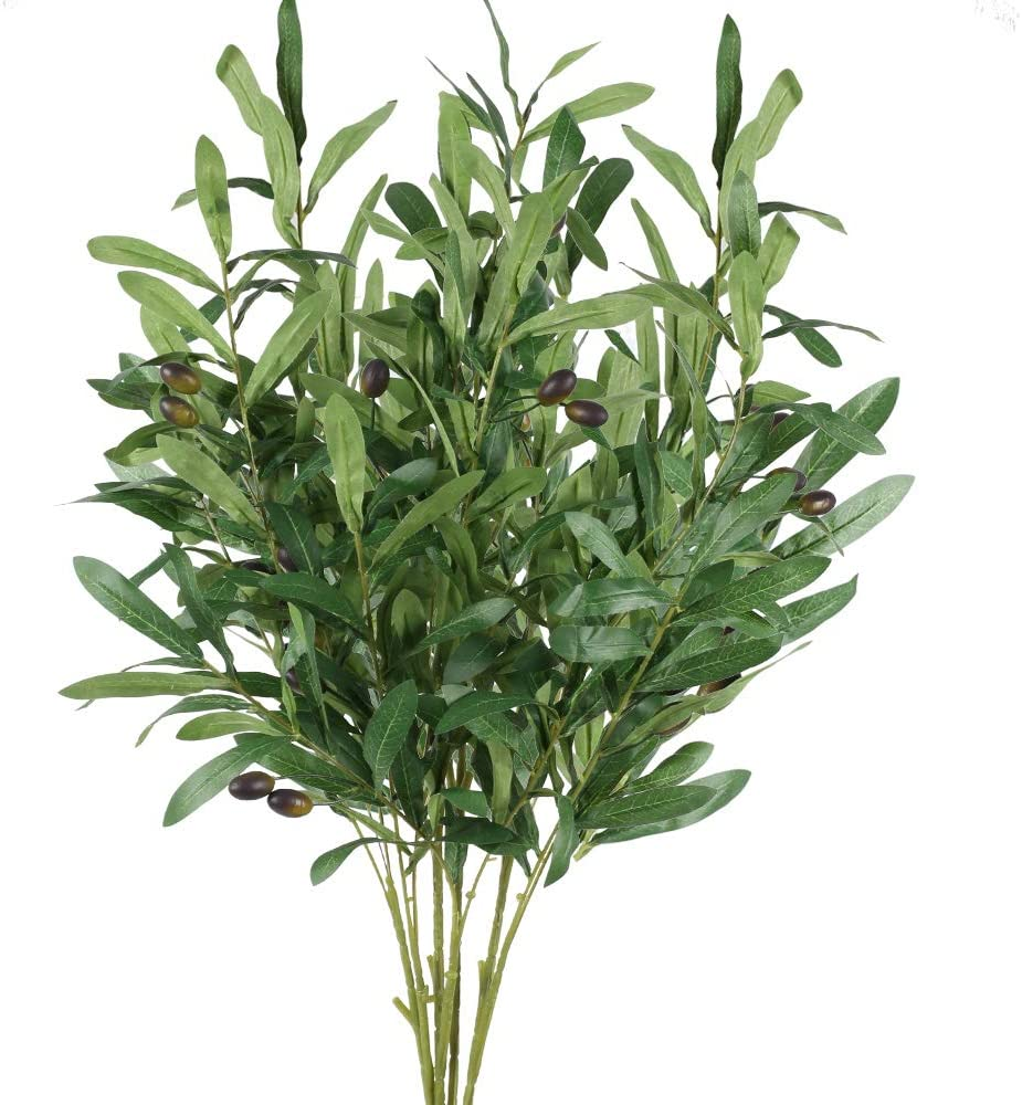 XHXSTORE 4Pcs Artificial Outdoor Plants Faux Plant Decor Fake Greenery Bush UV Resistant Olive Bush Shrubs Tree Outdoor Plastic Bushes for Table Home Kitchen Office Spring Wedding Garden Party Decor