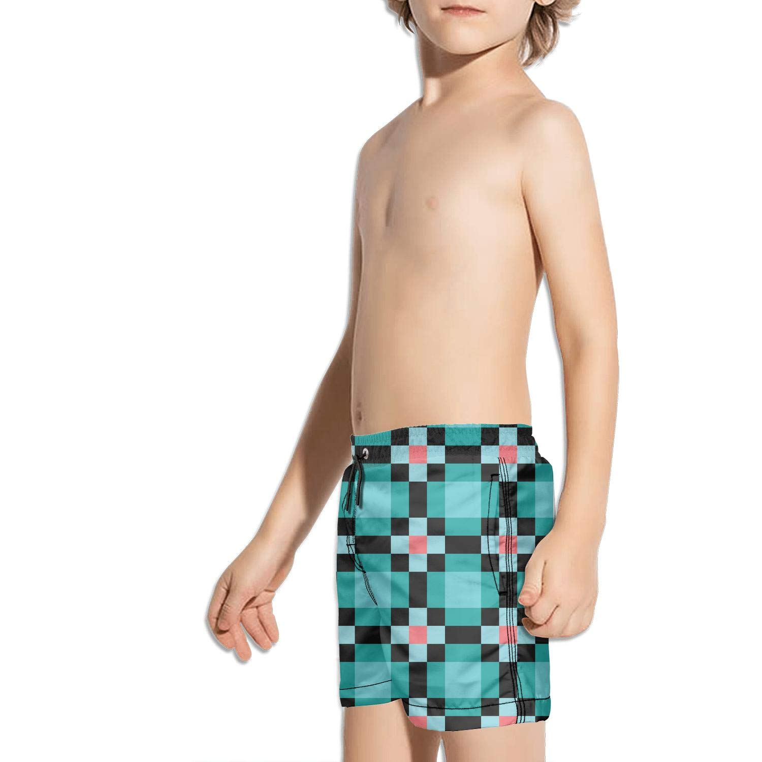 uejnnbc Checkerboard Geometric Vacation Slim Fit Solid Board Swimming Trunks Shorts