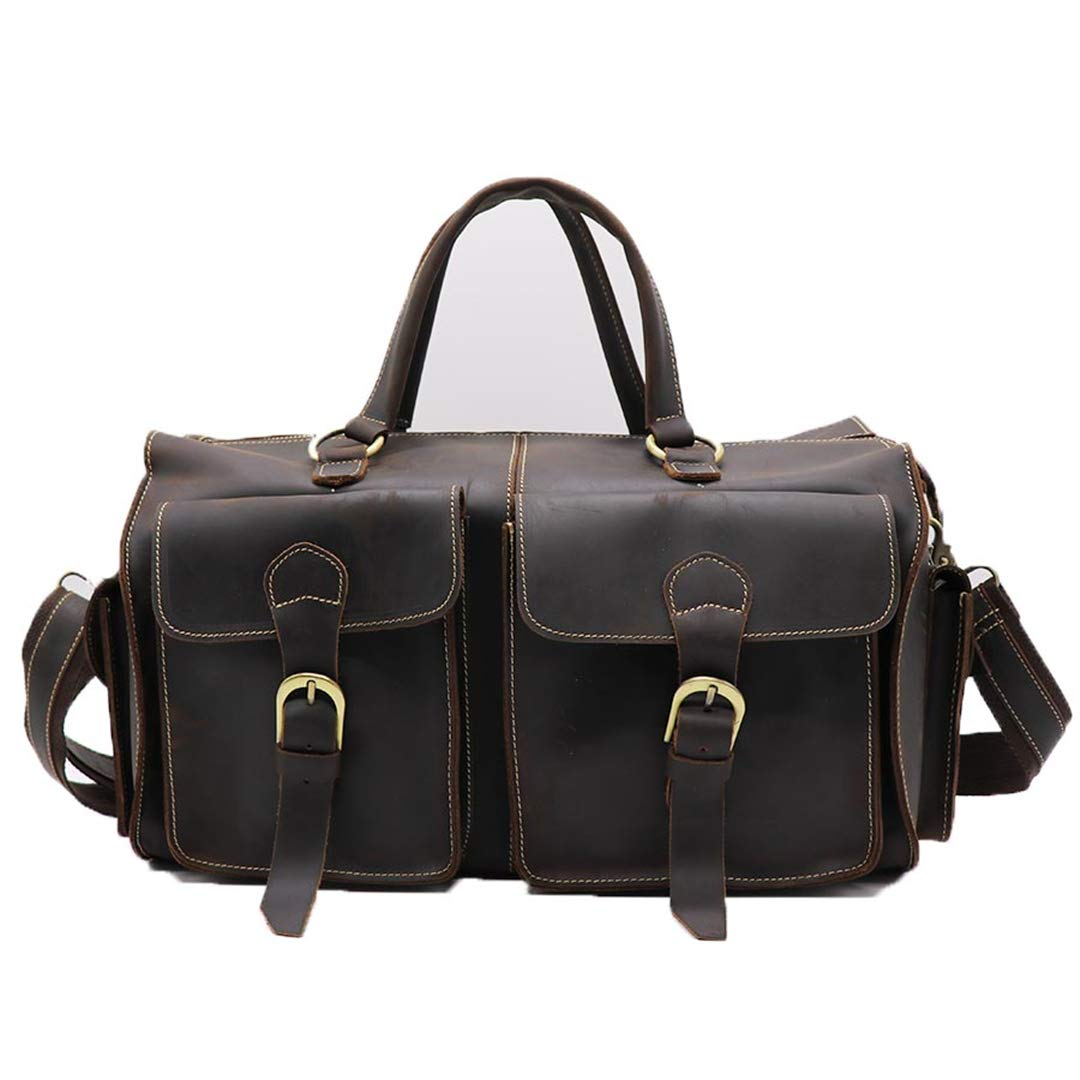 Genuine Crazy Horse Leather Casual 14' Travel Bag Men's H Bag Male Cowhide Cross Body Shoulder Messenger H le Bags Coffee Honygebi