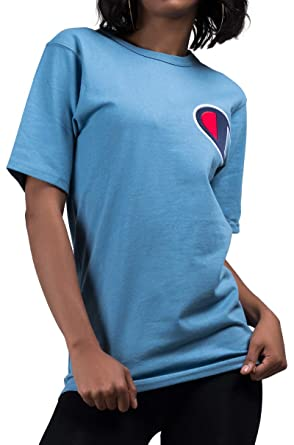 13840aa0 Image Unavailable. Image not available for. Color: CHAMPION Big C Patch  Logo Short Sleeve Tshirt Tee-BLUE MYLAR_S