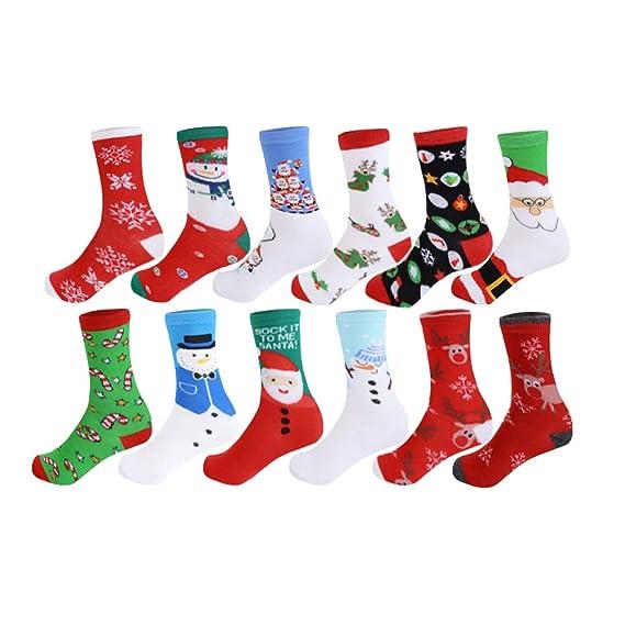 Vertvie 12 Pares Unisex Calcetines De Navidad Tema Navideño Calcetines De Algodón Festivos Diseño Mixto Para Mujeres Y Hombres Dibujos Animados ...