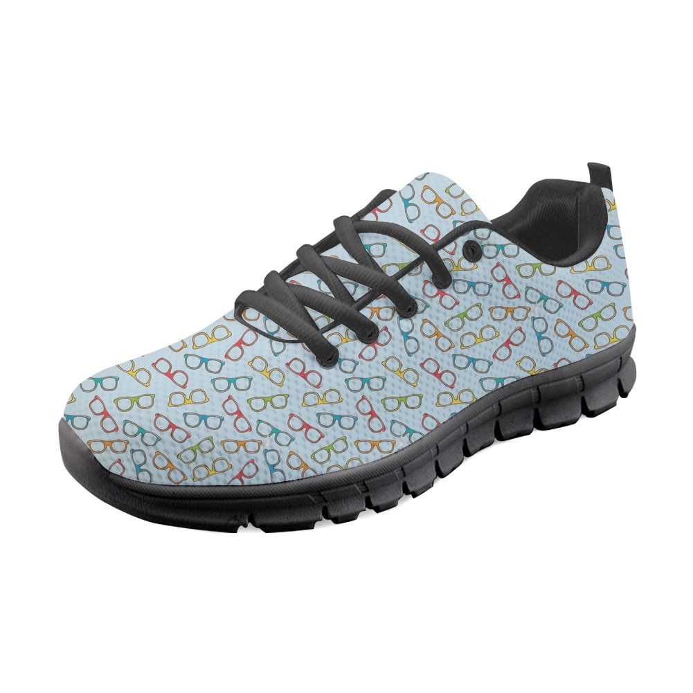 HUGS IDEA Women's Air Mesh Walking Shoes Eyeglasses Pattern Lightweight Lace-up Running Jogging Sneakers