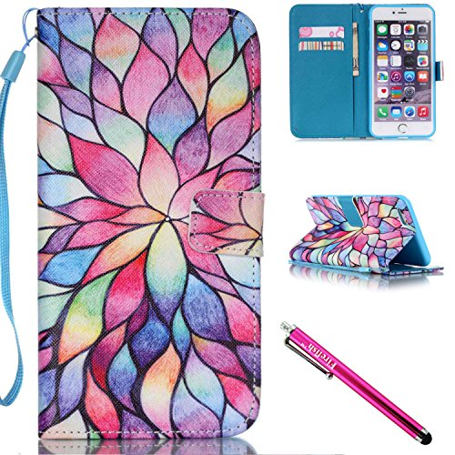 iPhone 5S Case, iPhone 5 Wallet Case, Firefish [Card Slots] [Kickstand] Flip Folio Wallet Case Synthetic Leather Shell Scratch Resistant Protective Cover for Apple iPhone 5/5S/SE-Lotus