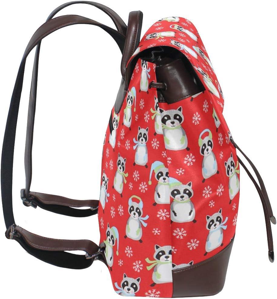 PU Leather School Backpack Cartoon Cute Animal Raccoon Snowflake Christmas Pattern drawstring for Travel Rucksack Daypack Casual Duffel Shoulder Bag