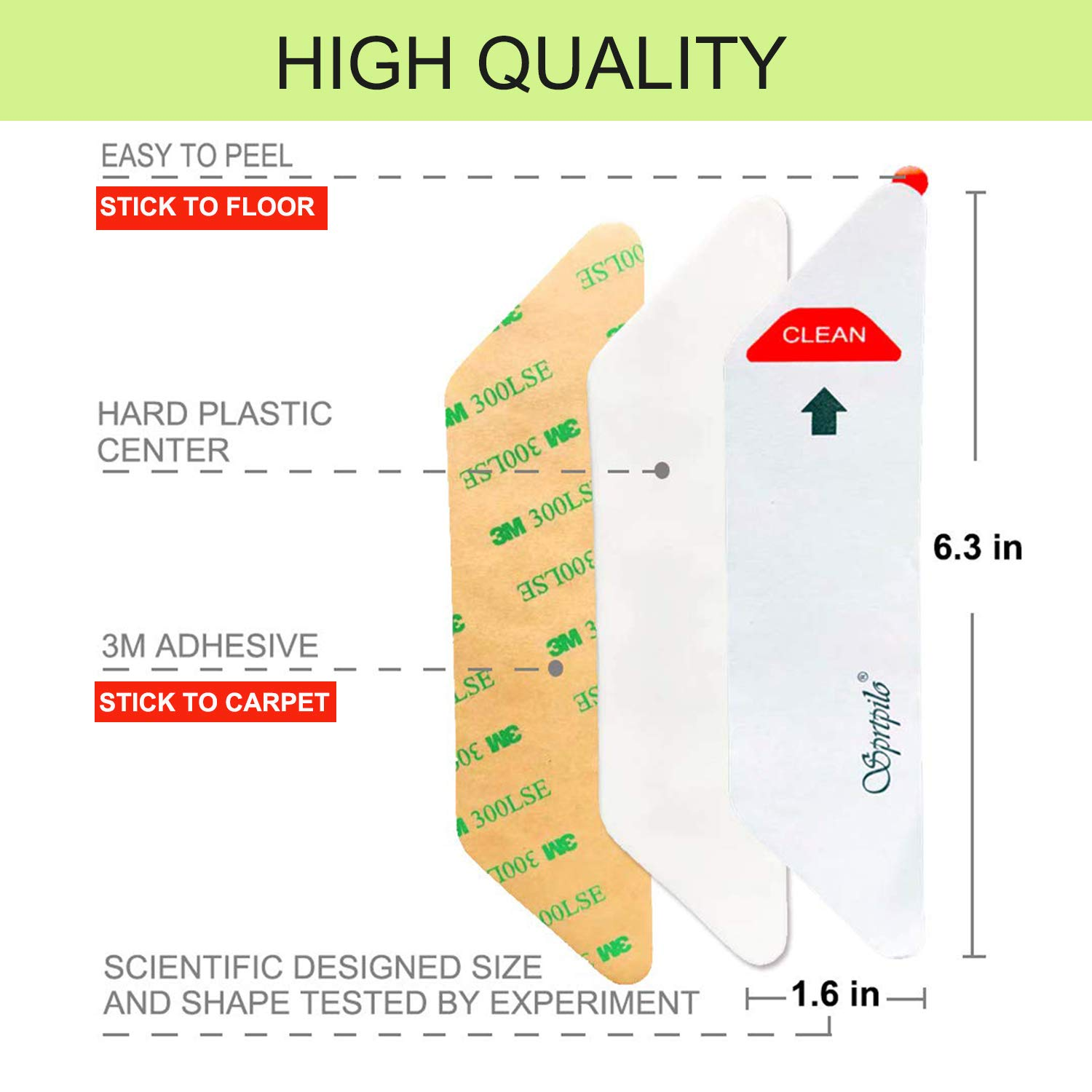 Rug Grippers for Hardwood Floors Sprtpilo Ultimate Silicone Rug Gripper 8 Pcs Double Sided Carpet Tape Keep Rug in Place /& Keep Corners Flat