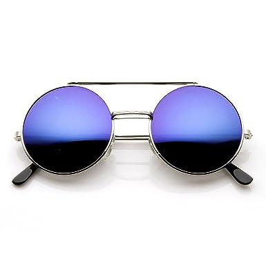 04311c665 zeroUV - Limited Edition Color Mirror Flip-Up Lens Round Circle Django  Sunglasses (Silver