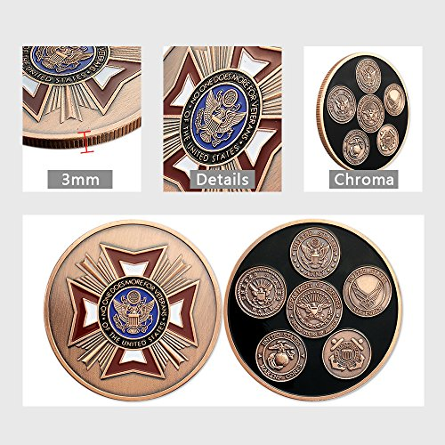 Military Challenge Coin U.S. Army Navy Air force Marine Corps Coast Guard Veteran -Five Branches of America's Armed Forces Collection Item