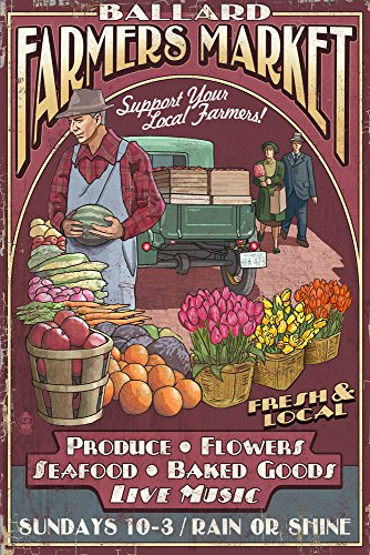 Seattle, Washington - Ballard Farmers Market Vintage Sign (16x24 Giclee Gallery Print, Wall Decor Travel Poster)