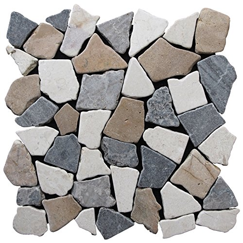 Pebble Tile Fit Mosaic Tile, White/Grey