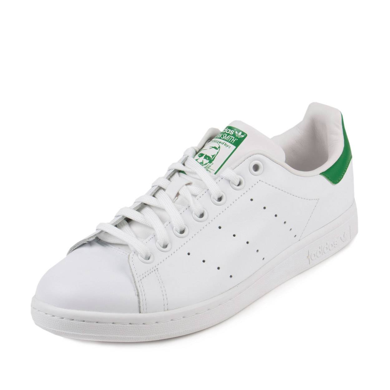 newest aec24 681ce adidas Originals Men's Stan Smith Leather White/Green Athletic Sneakers,  White, Size 5