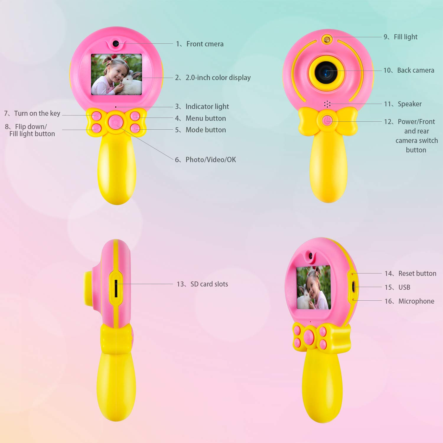Camera for Kids Camera Toys for Girls Toys Camera for 3-8 Year Old Children's Self-timer HD Digital Video Camera 2-Inch Screen Camera Magic Wand Toy Camera MiniKids Girls Boys Birthday Gift Toys by GUANLV (Image #5)