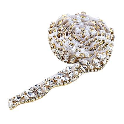 Amazon.com  XINFANGXIU Bridal Crystal Sash Applique by the Yard ... 716731a6c741
