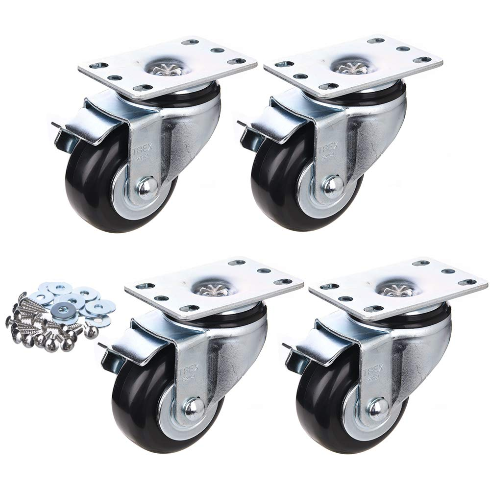All Swivel Plate Caster Wheels with Safety Side Locking and Black Polyurethane Load Capacity -840 Lbs Per Caster 4inch Heavy Duty Casters Pack of 4 P504S-2B T-REX CASTER D//B