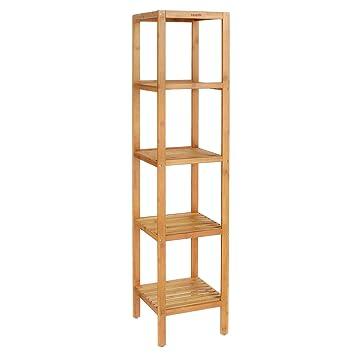 HOMFA Bamboo Bathroom Shelf 5 Tier Tower Free Standing Rack Multifunctional  Storage Organizer