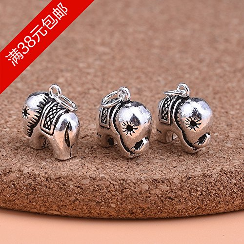 usongs DIY handmade jewelry accessories material 925 sterling silver Thai silver beaded bracelet retro elephant necklace pendant accessories by usongs