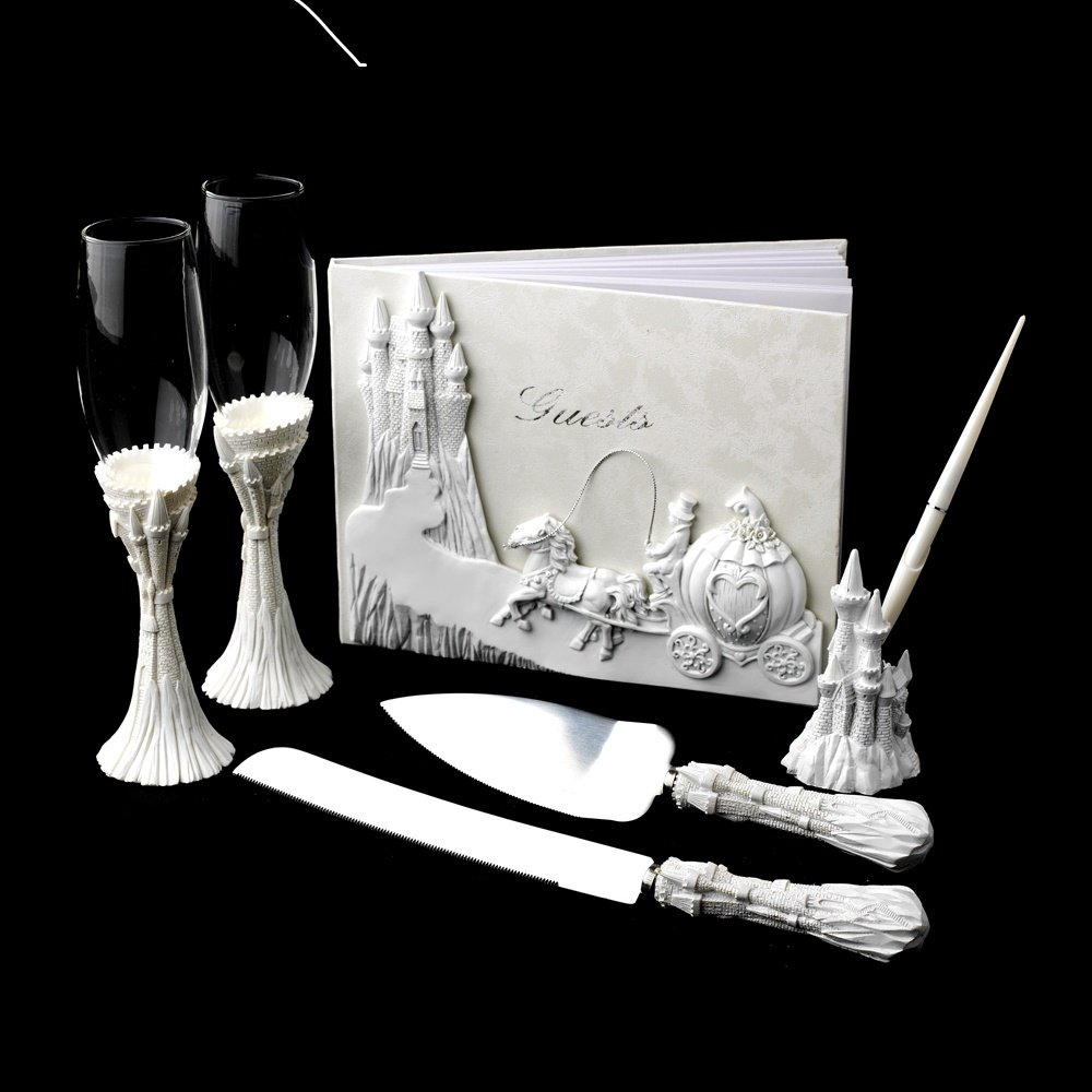 Majestic White Cinderella Castle Toasting Flutes, Cake Server, Guestbook & Pen Set by Wedding Factory Direct