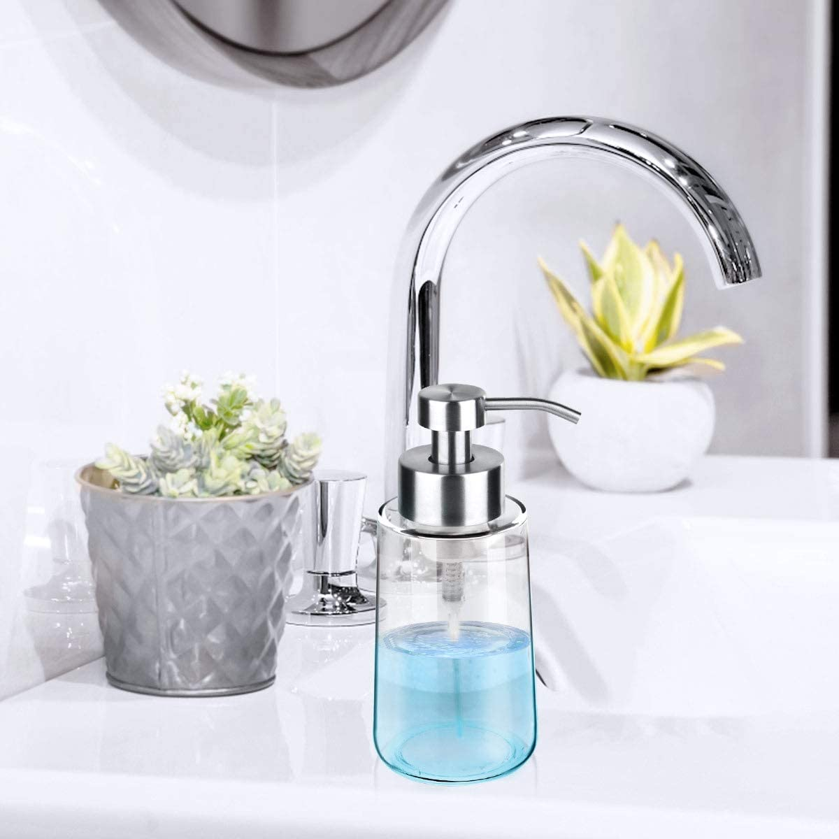 Foaming Soap Dispenser with Stainless Steel Pump for Kitchen and Bathroom GLUBEE Soap Dispenser 15 Oz Glass Soap Dispenser