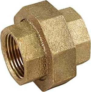 SUPPLY GIANT CSVO0300 1 Inch Lead Free Brass Union For 125 Lb Applications, With Female Threaded Connects Two Pipes, Brass Construction, Higher Corrosion Resistance Economical & Easy to Install