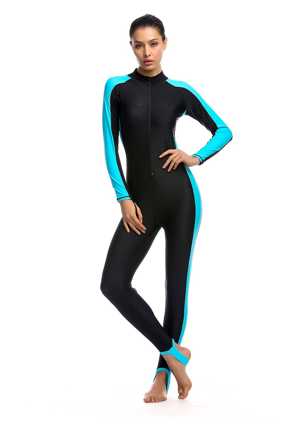 72611c85cb4 Women Fitness Full Length Wetsuit Surfing Suit One Piece Long Sleeve  JumpSuit Surfing Diving Bodyboarding: Amazon.co.uk: Sports & Outdoors