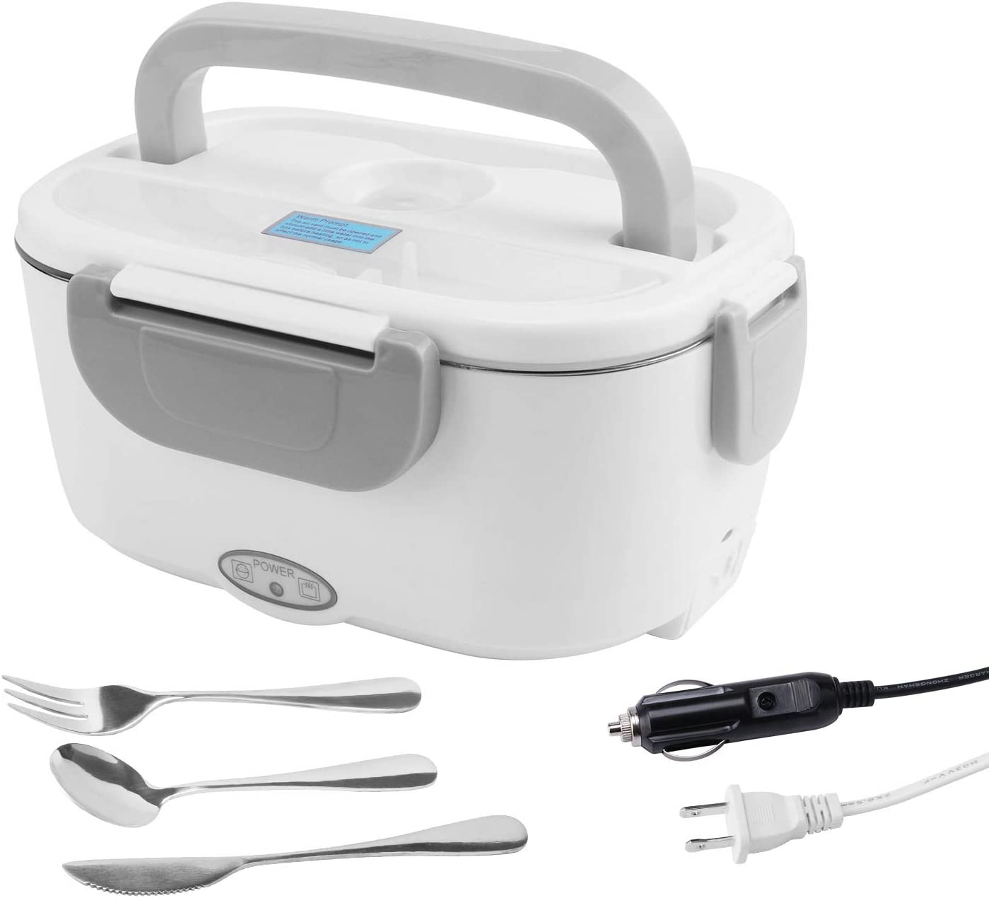 Electric Lunch Box 3in1 Use Heating Food for Car/Truck and Work 110V & 12V-24V Portable , with Removable 1.5L 304 Stainless Steel Food Container and 2 Compartments Variable Space,Free tableware (Gray)