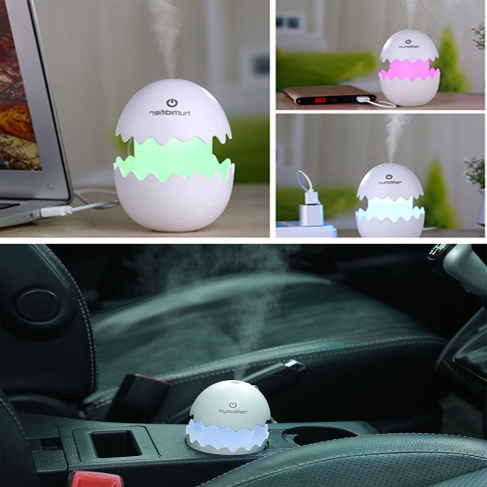 Mini Colorful LED Night Light USB Portable Air Humidifier,MeiLiio Cute Egg Shape Air Purifier Mist Spray Essential Oil Diffuser for Bedroom Home Office Travel Car Yoga Spa (White)