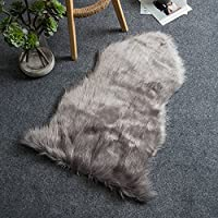 Ogrmar 23.6 X 35.4 Super Soft Faux Fur Fake Sheepskin Rug Sofa Couch Stool Casper Vanity Chair Cover / Solid Shaggy Area Rugs (Grey)