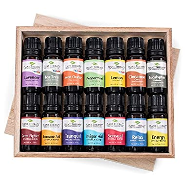 14 Essential Oil Set (7 Synergies and 7 Singles) Includes 100% Pure, Therapeutic Grade of: Sensual , Energy, Germ Fighter, Relax, Immune-Aid, Tranquil, Invigor-Aid, Lavender, Peppermint, Eucalyptus, Tea Tree, Orange, Lemon & Cinnamon. 10 ml each.