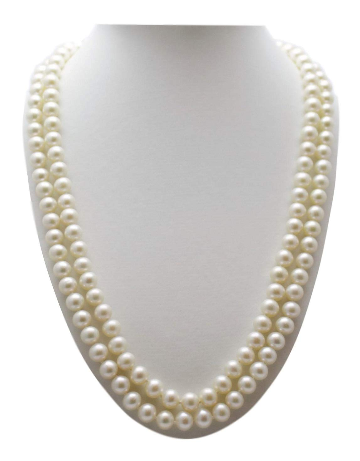 Shoppe23 Pearl Necklace Set Elegant Two Strand 6mm Bridesmaid Jewelry Boxed (Ivory) #188+