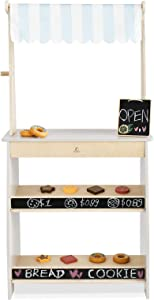 PairPear Grocery Store Playset Market Stand Wooden Toy Pretend Play Food Sets 12 pcs Accessories