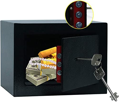 JUGREAT Security Safe with Key Lock, Home Safe Wall or Cabinet Anchoring Design for Home Office Hotel Business Gun Passport Cash Money 0.23 cu.ft
