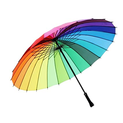 1fac495123e8f meizhouer 24k Color Rainbow Umbrella Fashion Long Handle Straight Anti-UV  Sun/Rain Stick