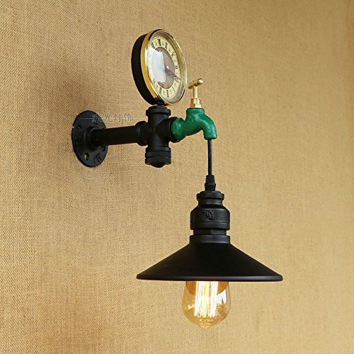 CGJDZMD Wall Sconce Vintage Water Pipe Wall Light Fixture Industrial Metal Black E27 1-Light Wall Light Edison Lamp Retro Metal Wall Lights Retro Wall Lamp Fixture by CGJDZMD