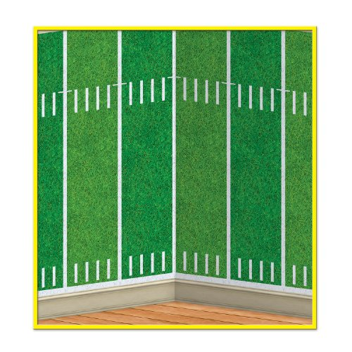 (Beistle 52125 1-Pack Football Field Backdrop for Parties, 4-Feet by 30-Feet)