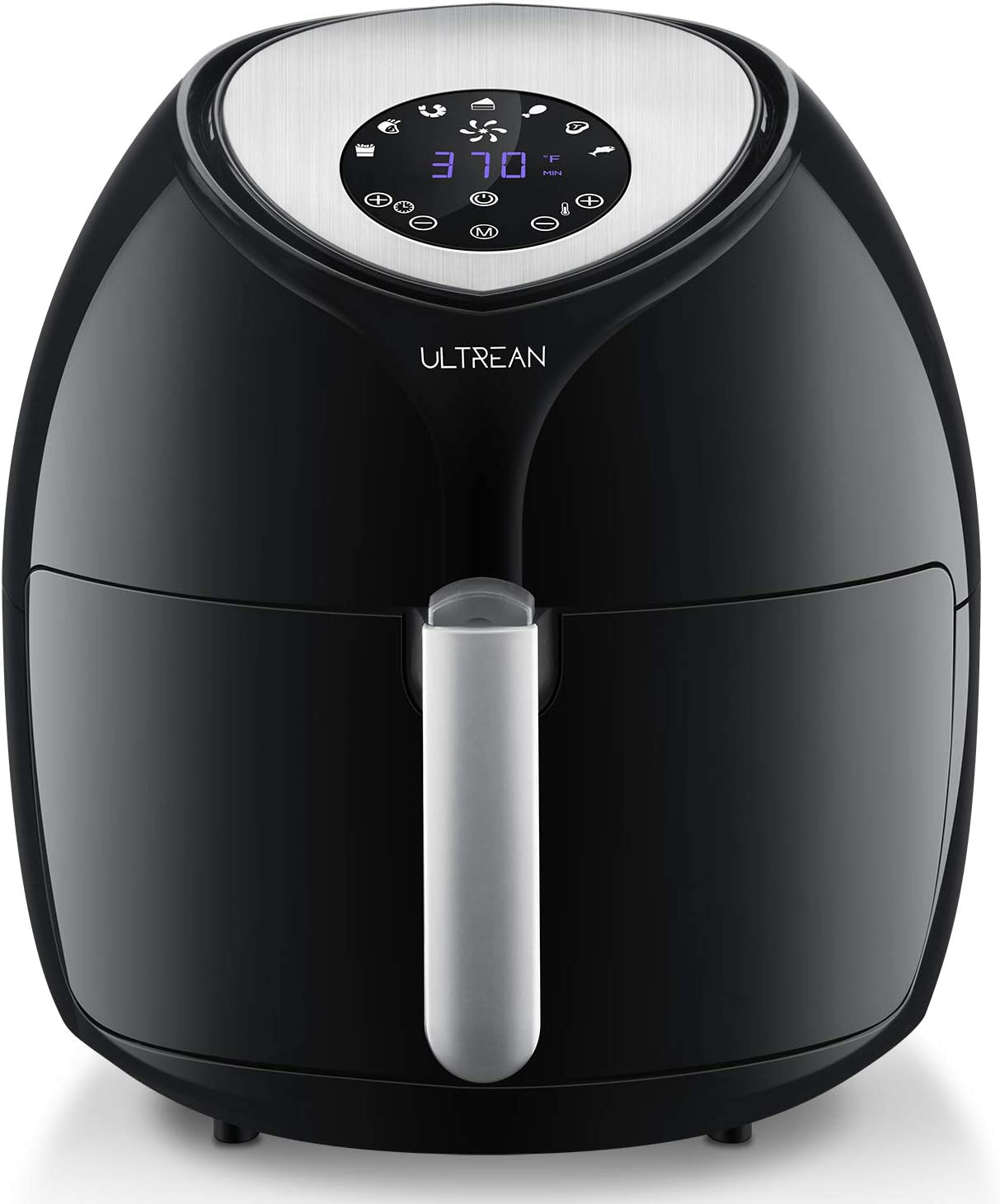 Ultrean 6 Quart Air Fryer, Large Family Size Electric Hot Air Fryers XL Oven Oilless Cooker with 7 Presets, LCD Digital Touch Screen and Nonstick Detachable Basket,UL Certified,1700W (Black)