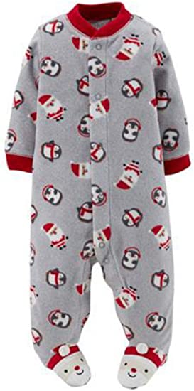 Carter/'s Christmas Santa Claus Sleeper Pajamas Infant Baby Boy 3 Months NEW