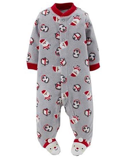 79303305e Carter's Infant Boy Plush Gray Christmas Sleeper Santa Sleep Play Pajama NB