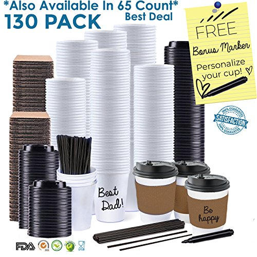 JUMBO VALUE SET of 130 Coffee Disposable Paper Hot Cups with Travel Leak Proof Lids, Heat Resistant Sleeves and Stirrers -12OZ WHITE PREMIUM STARBUCKS quality THE BEST VALUE on Amazon by Sugarman Creations (Image #9)