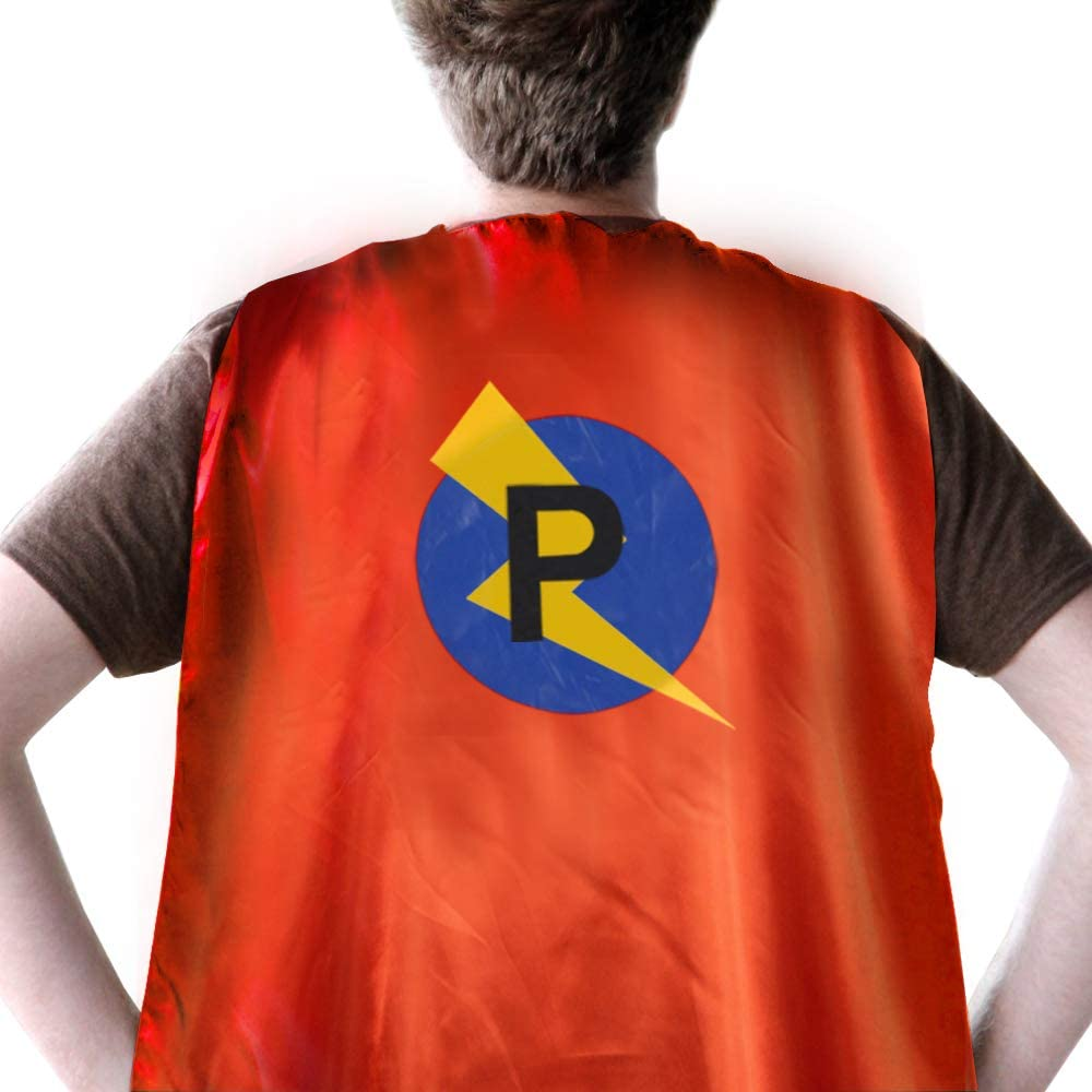 Intial Letter Name Superhero Cape for Kids/Adult Size Red & Blue Reversible Cape